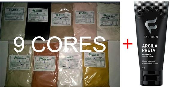 Kit 9 Cores De Argila: Verde Preta, Branca...grátis: Máscara
