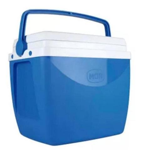 Imagem 1 de 4 de Caixa Térmica 18 Litros Azul Para Até 24 Latinhas 350ml Mor