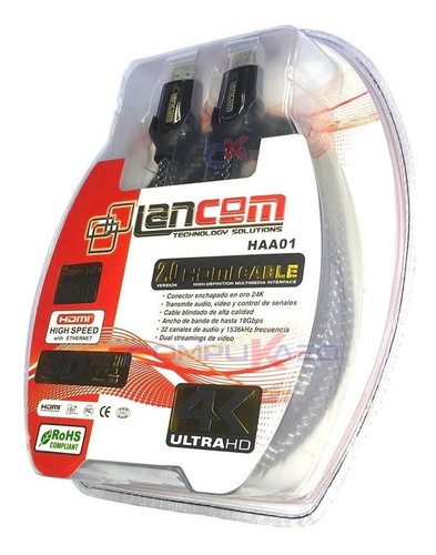 Cable Hdmi 2.0 De 1.80 Metros 4k 3d Lancom Conectores 24k