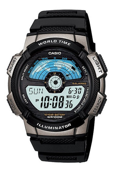 Relógio Casio Masculino World Time Ae-1100w-1avdf
