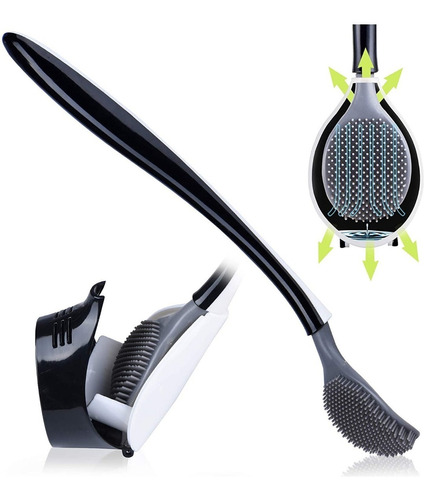 Imagen 1 de 5 de Cepillo Escobilla Inodoro Cerdas De Silicon Antibacterial