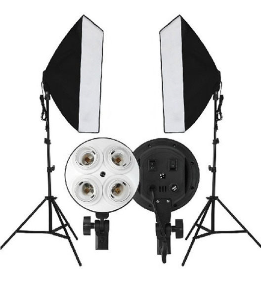 Kit 2 Soft Box P 4 Lamp Tipo Sombrinha 50x70cm + 2 Tripe 2m
