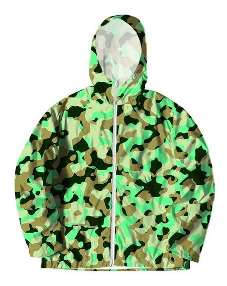 Jaqueta Corta Vento Touca Zíper Camuflado Militar Verde #1