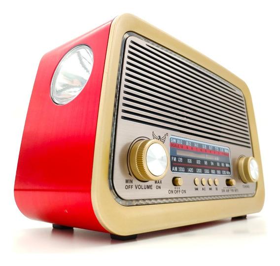 Radio Retrô Vintage Usb Aux Sd P2 Am Fm Sw - Recarregável