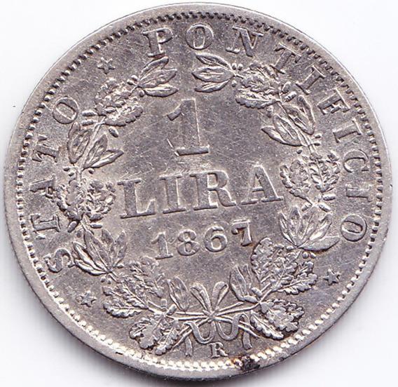 Vaticano Moneda 1 Lira 1867 R Plata Km# 1378 Xf