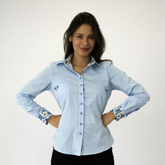 Camisa Social Feminina Azul Claro Com Bolsos Manga Longa