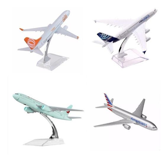 5 Pç Miniatura Aviao Metal Boeing Airbus Varios Modelos 16cm