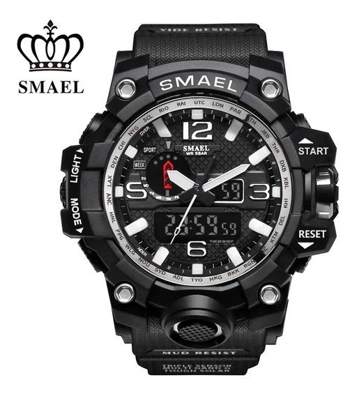 Relógio Masculino Militar Esportivo Digital Smael 1545 Preto Com Prata A Prova D