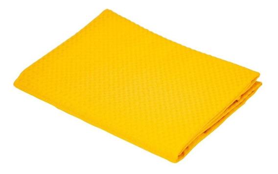 Porta Travesseiro Teka Amarelo Liso Tecido Piquet 50x70cm