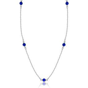 Colar Feminino Folheado Longo De Zircônia Azul Semi Joia