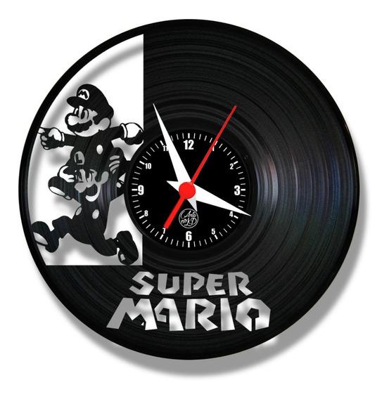 Super Mario Bros Game Retro Relógio Vinil Disco Lp Geek Nerd