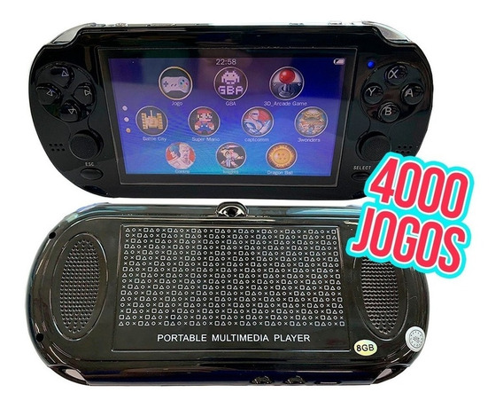 Mini Video Game Com 4 Mil Jogos Player Mp3 Mp4 Mp5