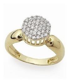 Anel Feminino Em Ouro 18k 19 Pedras De 1 Ponto Sinteticas