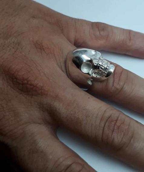 Anel Robusto Caveira Crânio Liso Em Prata 950k Oferta