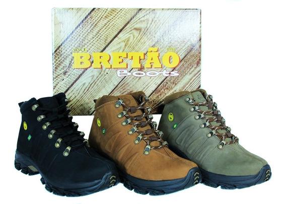 Bota Coturno Bretão Boots Em Couro Linha Adventure Trekking