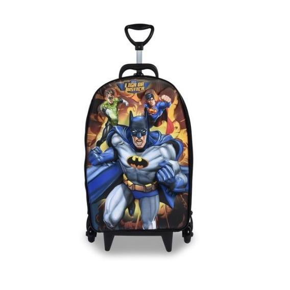 Mochila Escolar Maxtoy Liga Batman 3 Rodas - 3d