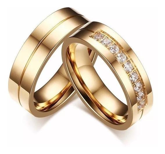 Par Alianças Banhadas A Ouro 18k + Anel Solitario Com Pedras