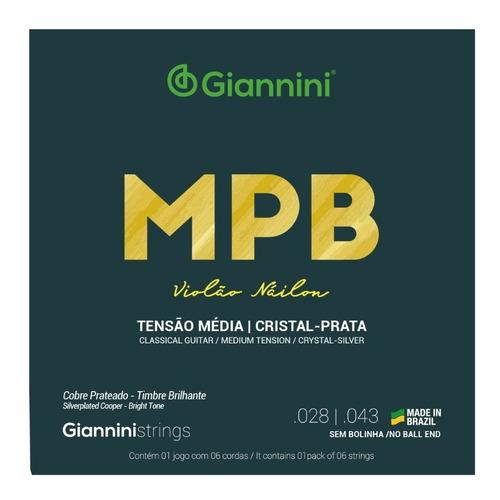 Imagem 1 de 2 de Encordoamento Classico Giannini Mpb Nylon Cristal Prata