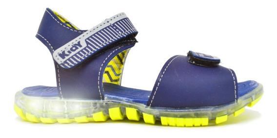 Sandália Infantil Masculina Kidy Light Led Azul Marinho
