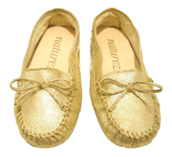 Sapato Mocassim Feminino Dourado-via Uno Natureza