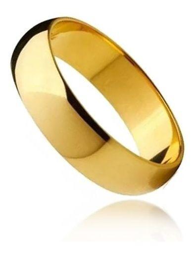 Aliança Abaulada Média Em Aço Inox Dourado