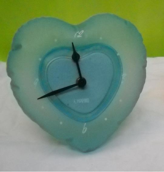 Reloj De Mesa Inflable Vintage Con Forma De Corazon Celeste