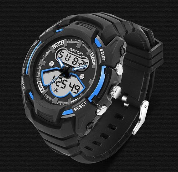 Relógio De Pulso Masculino Borracha Azul Esportivo Original