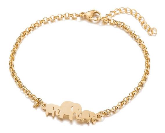 Pulsera Acero Inox, Elefantes Dorados