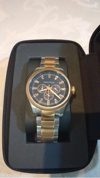 Relógio Náutica Masculino Aço Prateado E Dourado