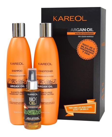Pack Kareol Argan Oil Shampoo + Acond + Bio Oil System 60