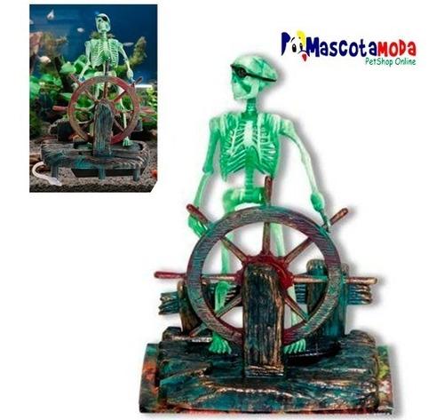 Esqueleto Hundido Manejando Timon Barco Decoracion Acuario