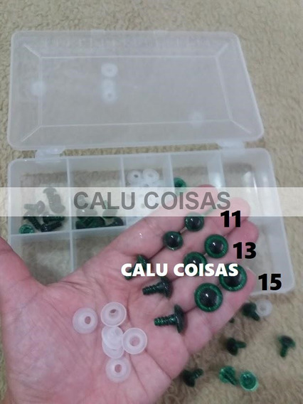 60 Olhos Verde Gliter C/pino Amigurumi Artesanato + Caixa!