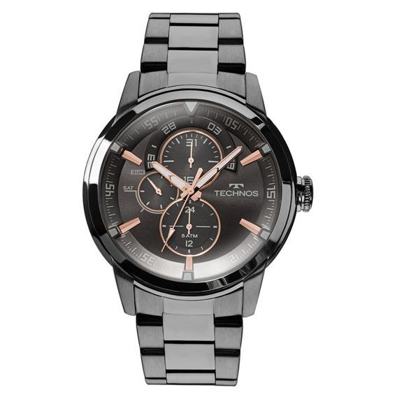 Relógio Technos Masculino Grandtech Preto Rosê 6p57ab/4p