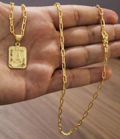 Corrente 70cm 3mm + Pingente Placa A Banhado A Ouro 18k