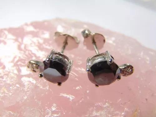 Brinco Feminino Prata Pura Diamantes Negros Indiano Promoção