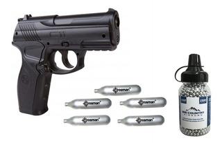 Paquete De Pistola Crosman Co2 C11 De Bbs 4.5mm (.177) + Tanques De Co2 + Bbs (c11)