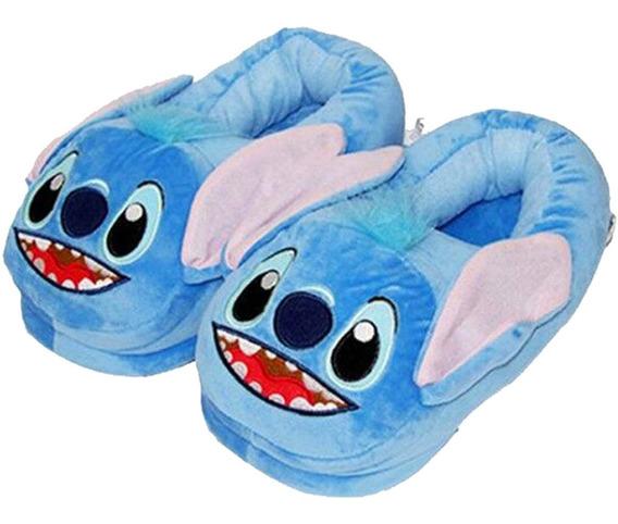 Pantufa Stitch Azul Adulto Confortável Pronta Entrega