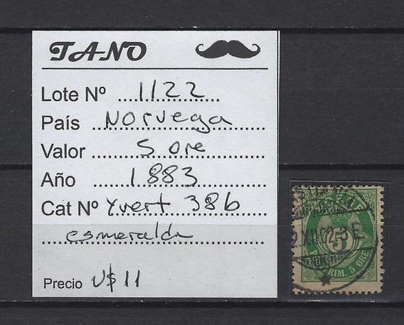 Lote1122 Noruega 5 Ore Año 1883 Yvert# 38b Esmeralda