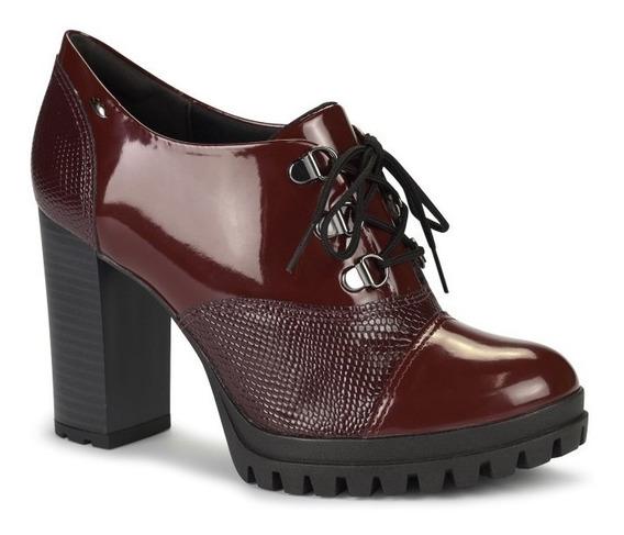 Sapato Feminino Dakota G1481 Oxford Salto Tratorado Marsala