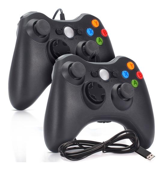 Kit 2 Controles Pc Xbox 360 Joystick Manete Com Fio 2,2m Usb