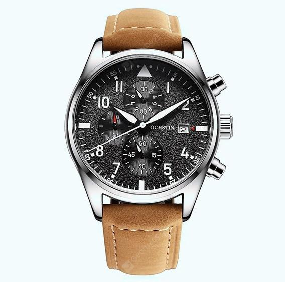 Relógio Masculino Oschin Em Couro Legítimo Original Importad