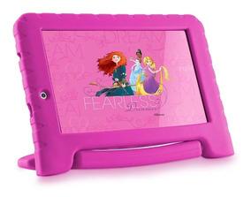 Tablet Rosa Pink Infantil Menina Princesas Multilaser + Capa