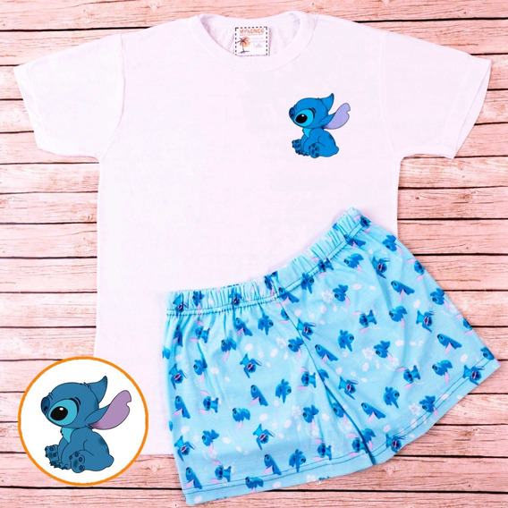 Pijama De Verano Stitch Celeste - Store Mykonos