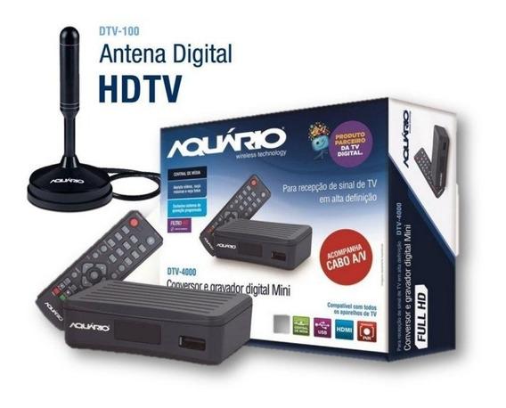 Kit Dtv-4100 Antena Hdtv 4 Em 1 Conversor E Antena Aquario