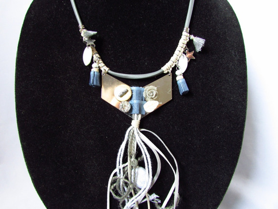 Maxi Colar Francês Cordão Metal Tassel Azul Boutique França