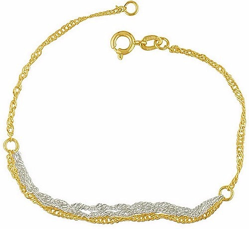 Pulseira Bracelete Triplo Cingapura Prata Banhado A Ouro 18k