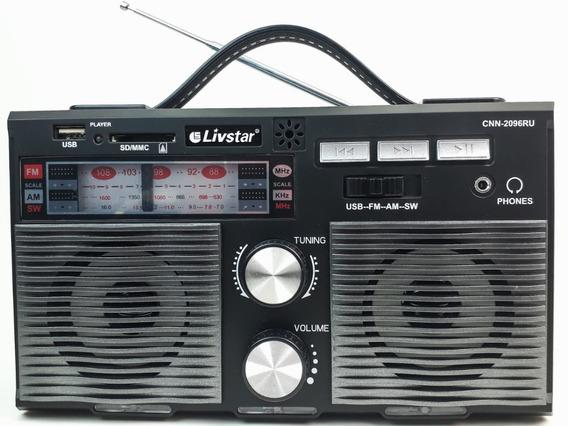 Rádio Livstar Cnn 2096ru Recarregável Portátil Am / Fm / Usb