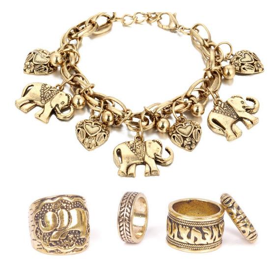Pulseira + Anéis (dourado)
