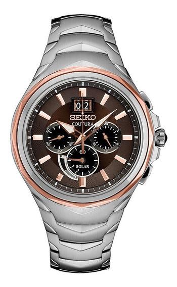 Relógio Seiko Coutura Solar Chronograph Marrom Ssc628