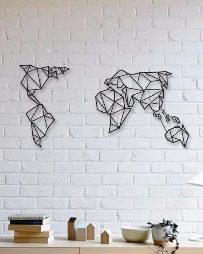 Quadro Parede Escultura Mapa Minimalista 90cm